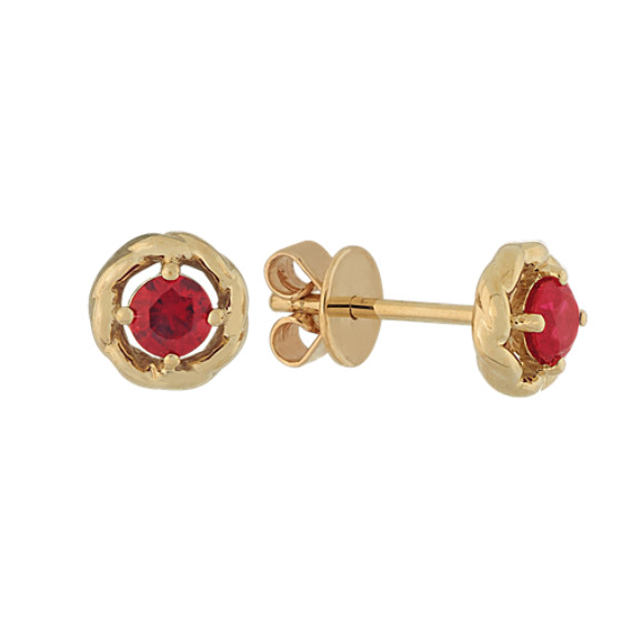 Ruby Halo Earrings in 14K Yellow Gold