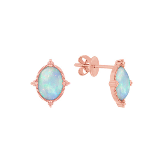 Beatrice Opal Earrings with Bead Accent in 14K Rose Gold