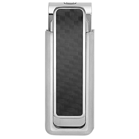 Stainless Steel Money Clip with Black Carbon Fiber Accent