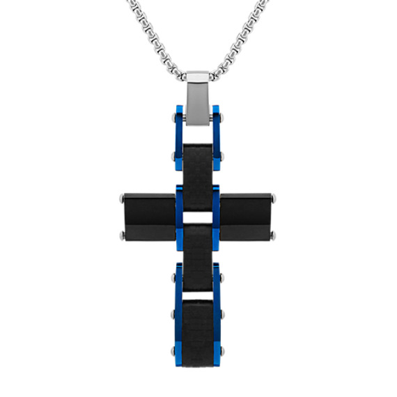 Stainless Steal Cross Necklace with Blue Ionic Plating (24 in)