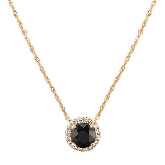 Black Sapphire and Diamond Halo Necklace (18 in)