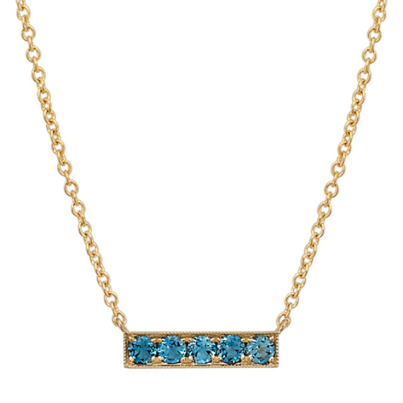 London Blue Topaz Horizontal Bar Necklace (18 in.)