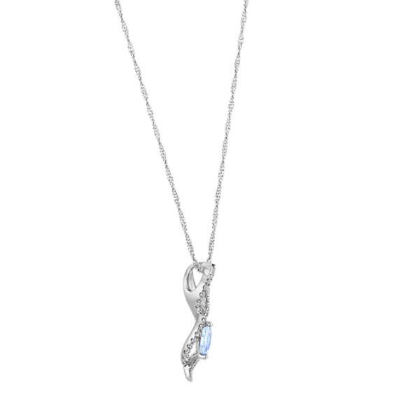 Ice Blue Sapphire & Diamond Infinity Pendant (18 in) image