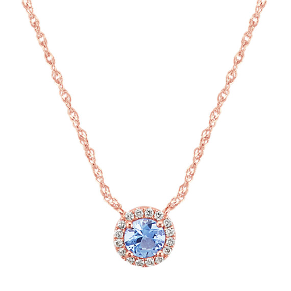 Round Ice Blue Sapphire & Diamond Necklace (18 in)