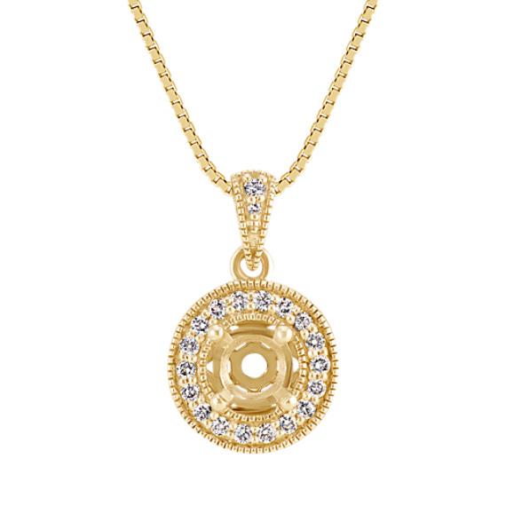 Diamond Halo Pendant for Round Gemstone (18 in.)