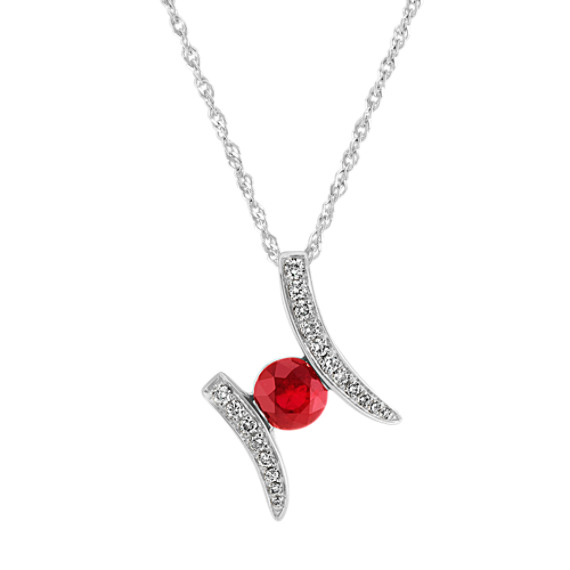 Round Ruby and Diamond Pendant in 14k White Gold (18 in)