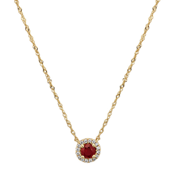 Ruby and Diamond Necklace in 14k Yellow Gold (18 in.)