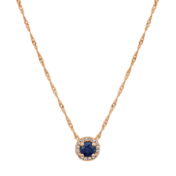 Traditional Sapphire and Diamond Halo Necklace (18 in.)