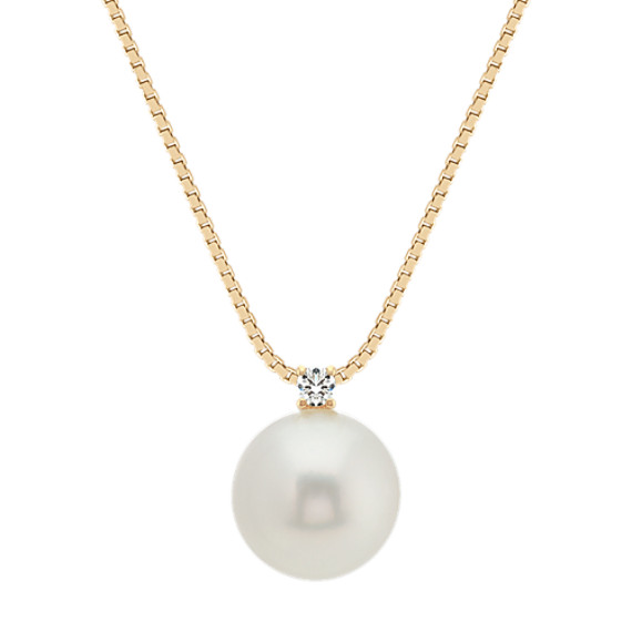 10mm Cultured South Sea Pearl and Diamond Pendant (18 in)