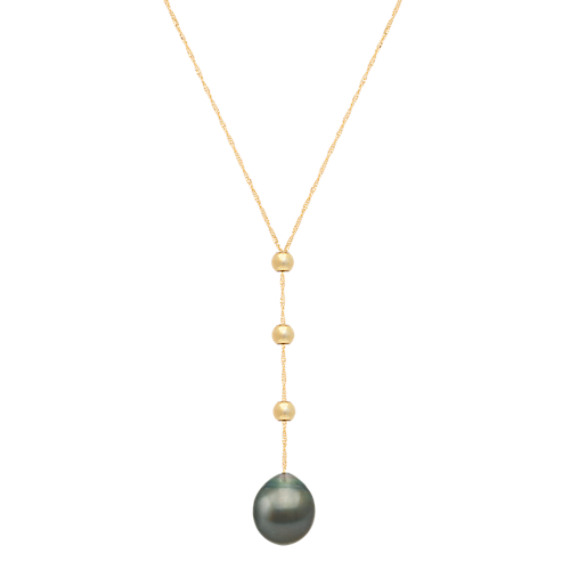 10mm Cultured Tahitian Pearl Y Necklace in 14k Yellow Gold (18 in)