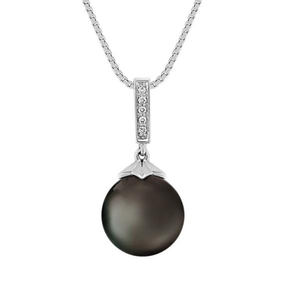 10mm Cultured Tahitian Pearl and Diamond Pendant (18 in)