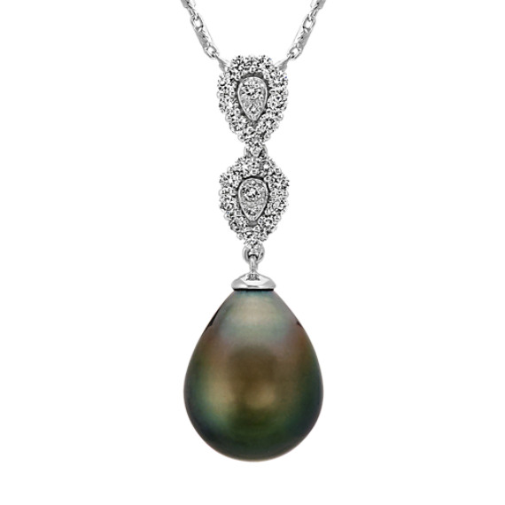 10mm Cultured Tahitian Pearl and Diamond Pendant (22 in.)