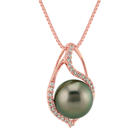 10mm cultured tahitian pearl and round diamond 14k rose gold pendant 10mm cultured tahitian pearl and round diamond 14k rose gold pendant 18 in aloadofball Image collections
