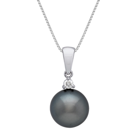 10mm Cultured Tahitian Pearl and Round Diamond Pendant (18 in)