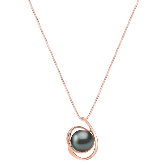 10mm Cultured Tahitian Pearl and Round Diamond Pendant in Rose Gold (18 in)