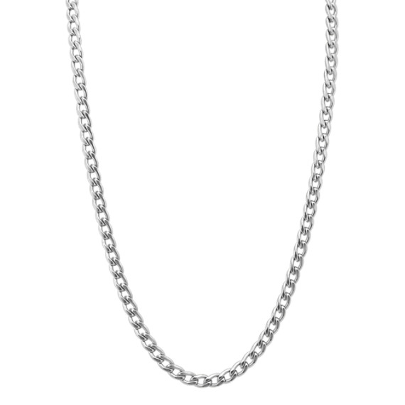 10mm Curb Chain Necklace in Stainless Steel (30 in)