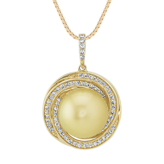 10mm Golden South Sea Pearl and Diamond Pendant (20 in)