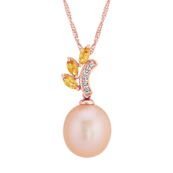 10mm Pearl, Citrine and Diamond Pendant (20 in)