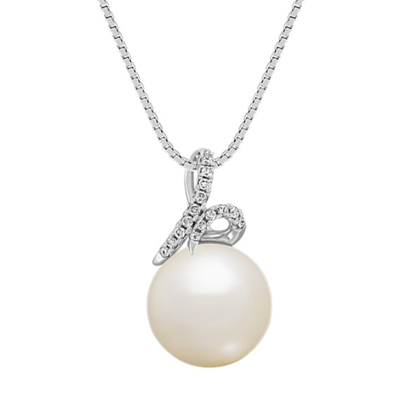 11mm Cultured South Sea Pearl and Diamond Pendant (18 in)