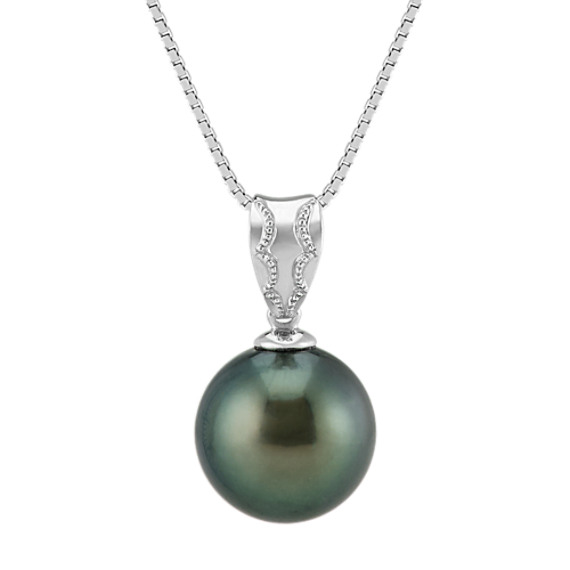 11mm Cultured Tahitian Pearl Solitaire Pendant in 14k White Gold (18 in)