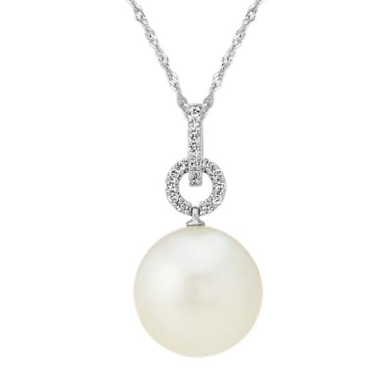 12mm South Sea Cultured Pearl and Diamond Pendant (20 in)