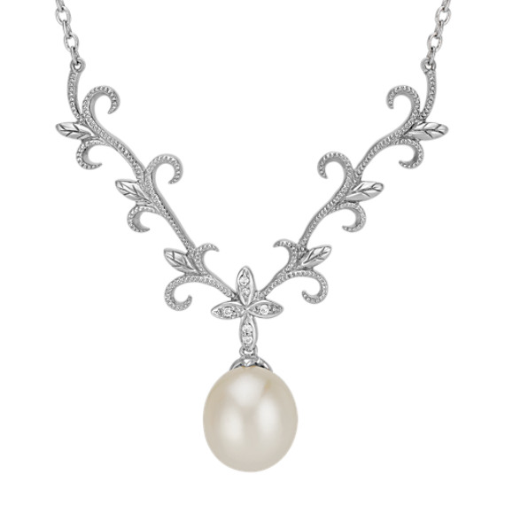 12mm Cultured Freshwater Pearl and Round Diamond Lavalier Necklace (18 in)
