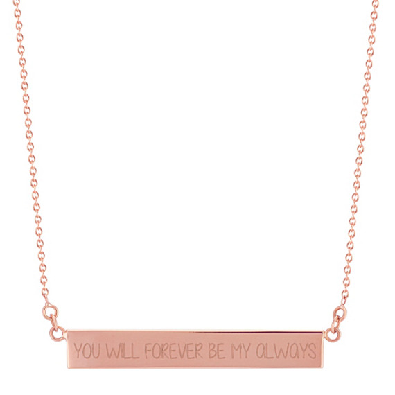 14k Rose Gold Bar Necklace (18 in)