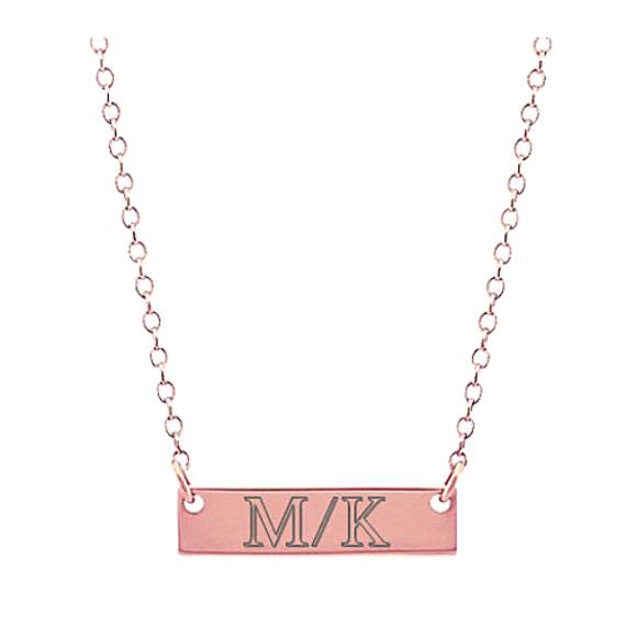 14k Rose Gold Mini Bar Necklace (18 in)