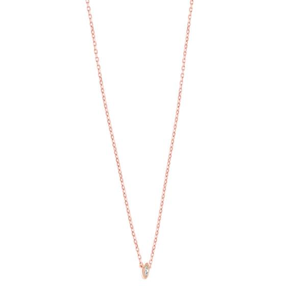 14k Rose Gold Bezel-Set Diamond Necklace (18 in) image