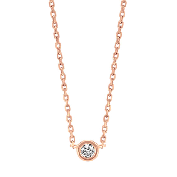 14k Rose Gold Bezel-Set Diamond Necklace (18 in)