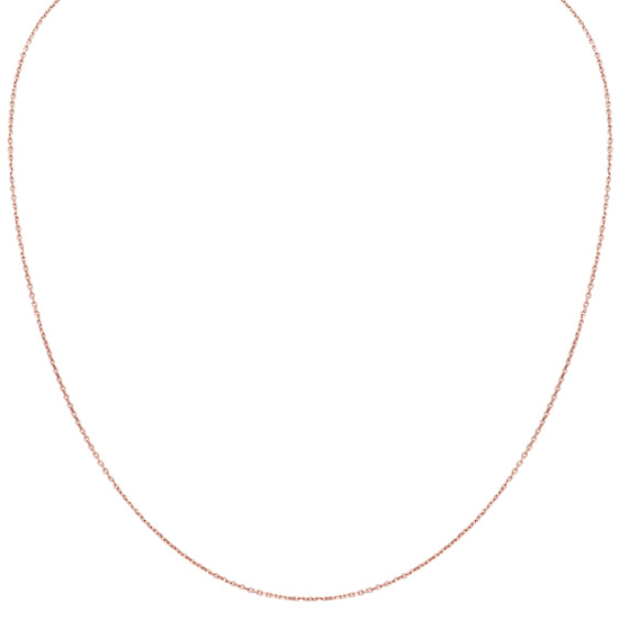 14k Rose Gold Diamond Cut Cable Chain (18 in.)