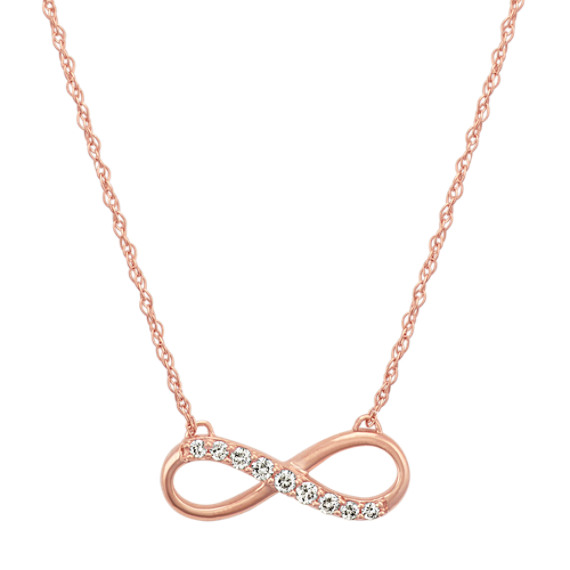 14k Rose Gold Diamond Infinity Necklace (18 in)