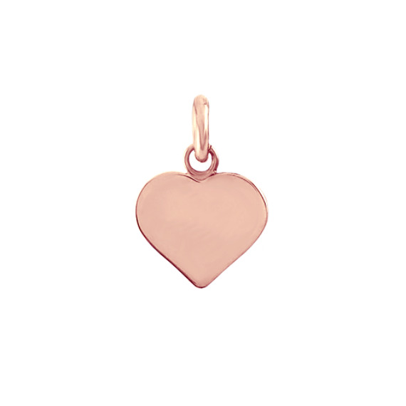 14k Rose Gold Heart Pendant Charm