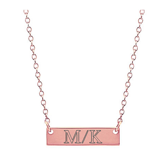 14k Rose Gold Mini Bar Necklace (18 in)