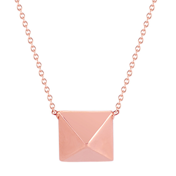 14k Rose Gold Pyramid Stud Necklace (18 in)