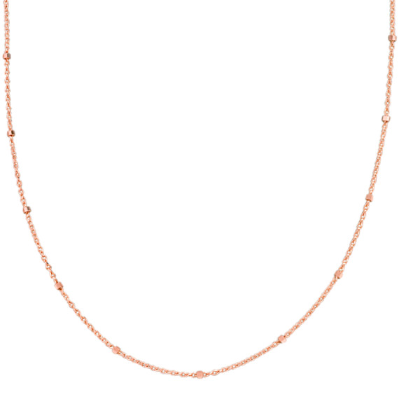 14k Rose Gold Wheat Chain with Stations (18 in)