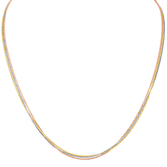 14k Tri-Tone Gold Necklace (20 in.)