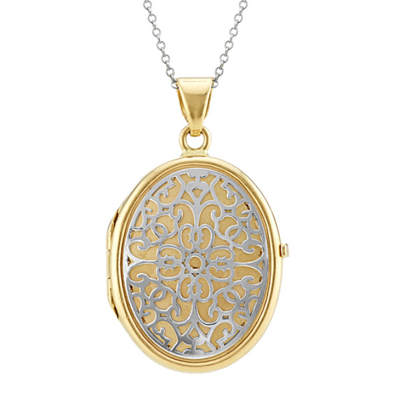 14k Two-Tone Gold Engraved Locket (22 in)