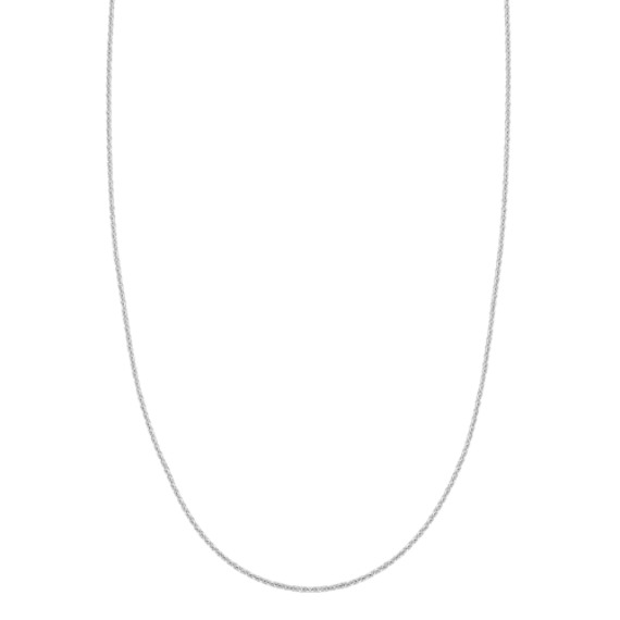 14k White Gold Adjustable Diamond Cut Cable Chain (22 in) image