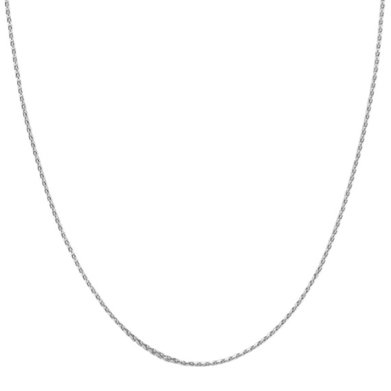 14k White Gold Adjustable Diamond Cut Wheat Chain (22 in)