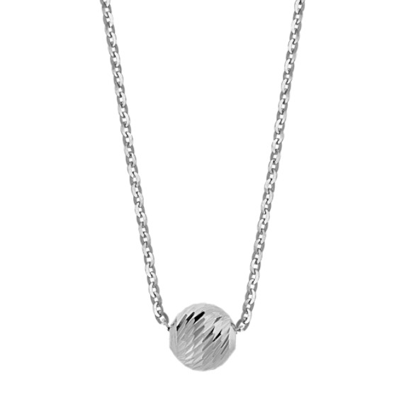 14k White Gold Ball Necklace (18 in)