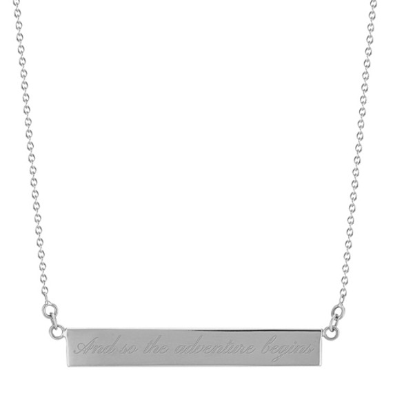 14k White Gold Bar Necklace (18 in)