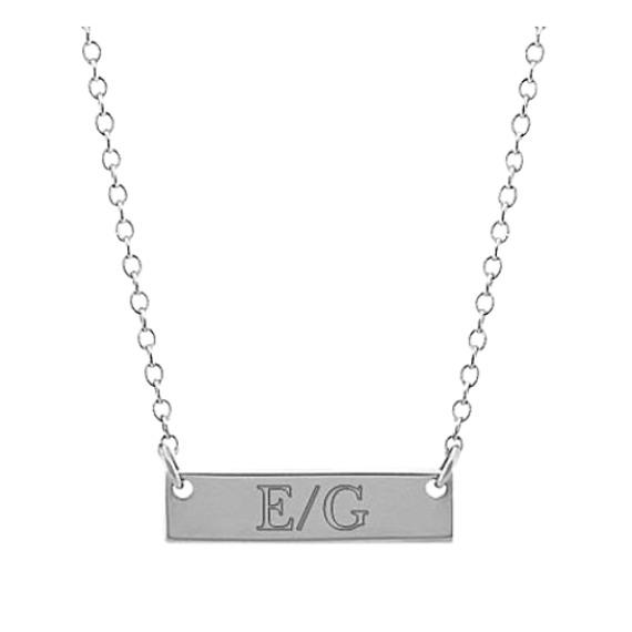 14k White Gold Mini Bar Necklace (18 in)