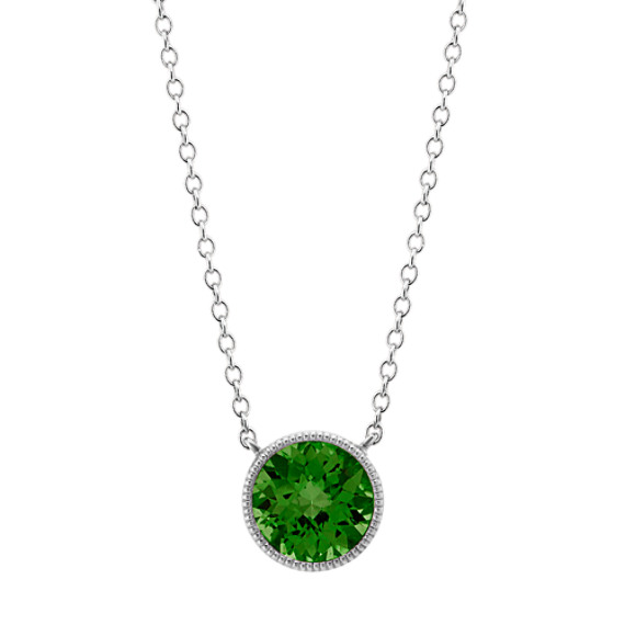 14k White Gold Bezel-Set Chrome Diopside Necklace (18 in)