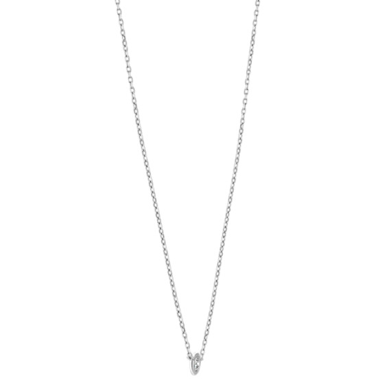 14k White Gold Bezel-Set Diamond Necklace (18 in.) image