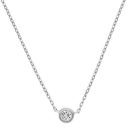 14k White Gold Bezel-Set Diamond Necklace (18 in.)