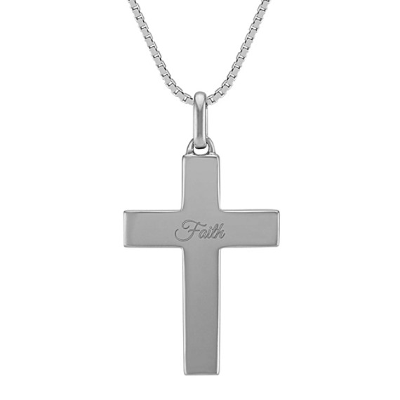 14k White Gold Cross Necklace (24 in)