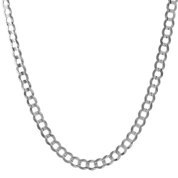 24 inch Mens 14k White Gold Curb Chain