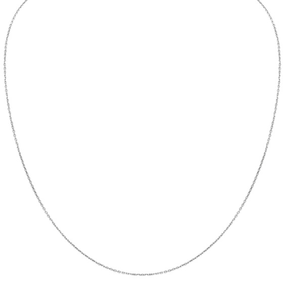 14k White Gold Diamond Cut Cable Chain (18 in)