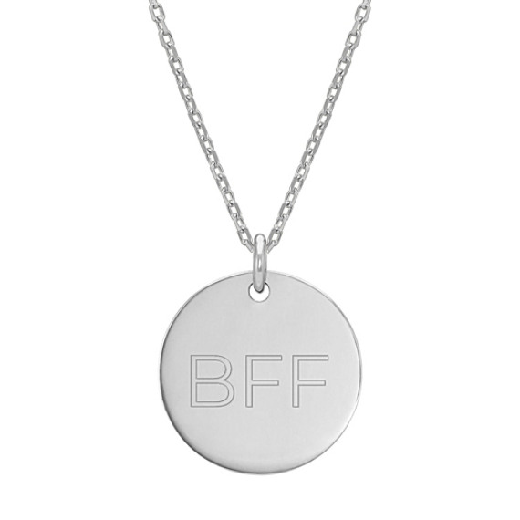 14k White Gold Engravable Circle Pendant (20 in)